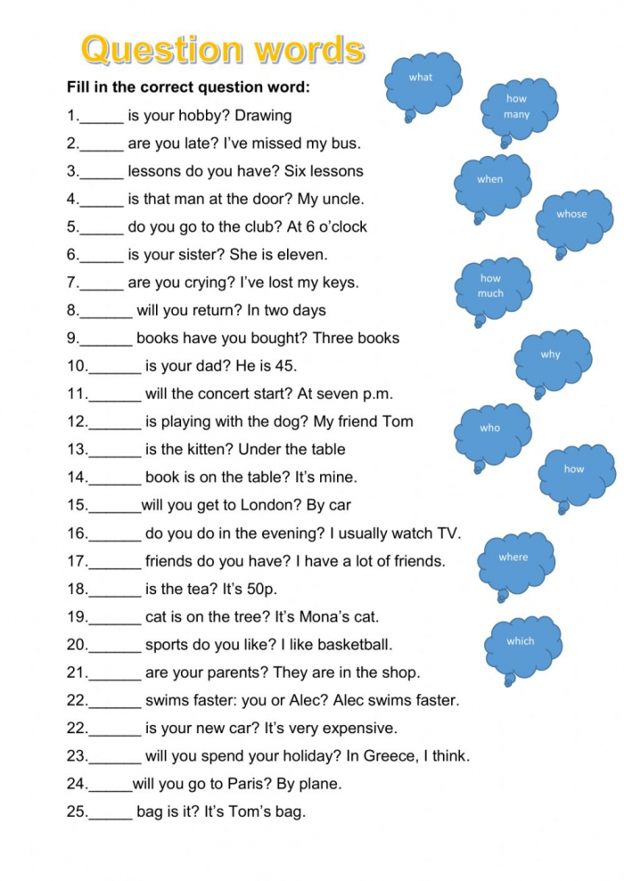 Question Words Worksheet For A