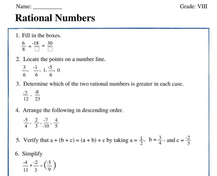 Rational Numbers Class Worksheet