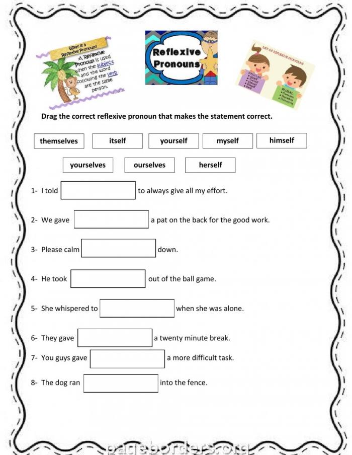 Reflexive Pronouns Grammar Worksheet