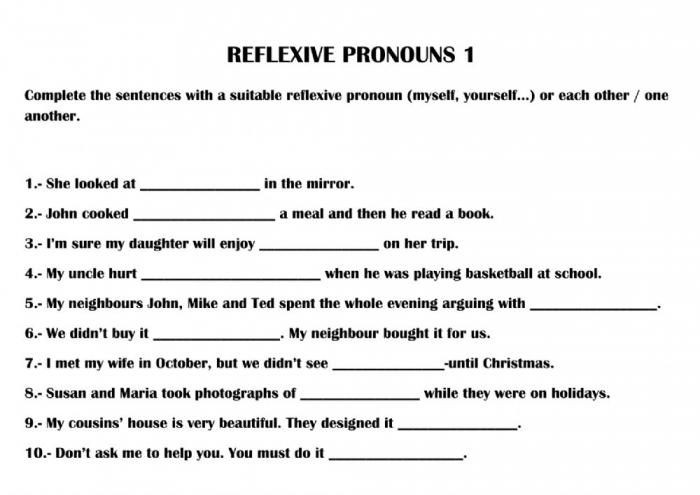 Reflexive Pronouns Online Pdf Activity For B