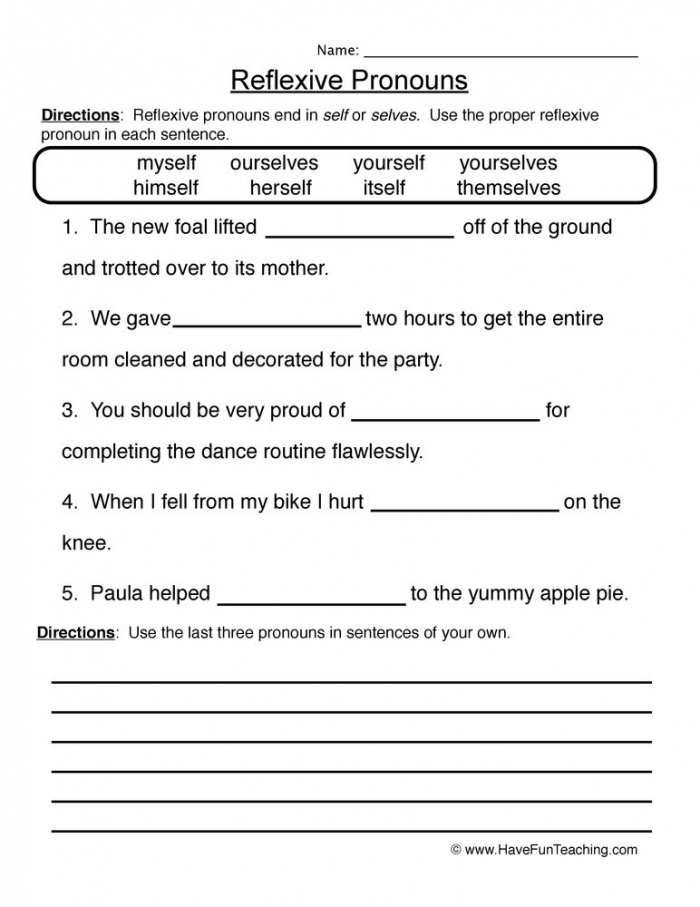 Reflexive Pronouns Worksheet Have Fun Teaching