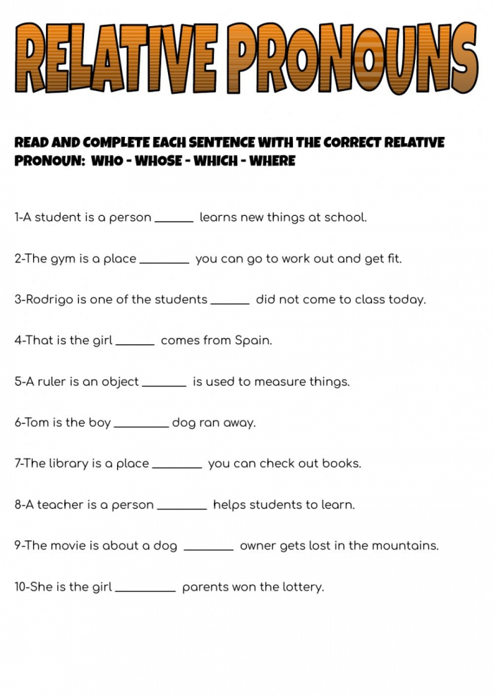 Relative Pronouns Online Worksheet For Th Grade