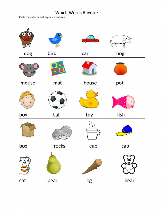 Rhyming Words Interactive Activity For Kg