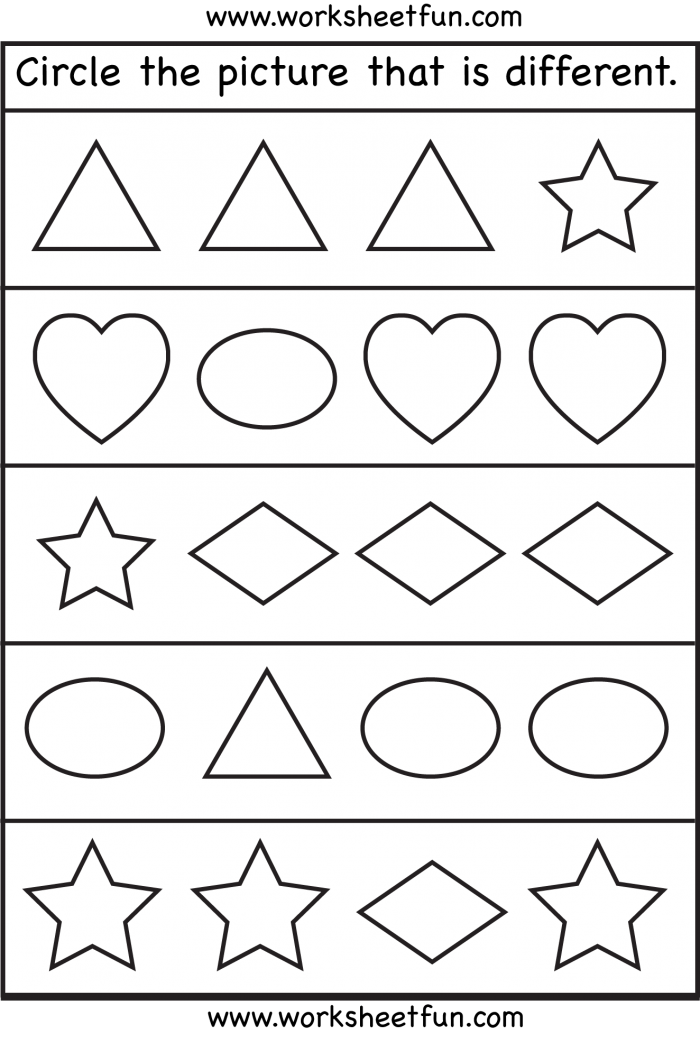 Same And Different Shapes One Worksheet Free Printable