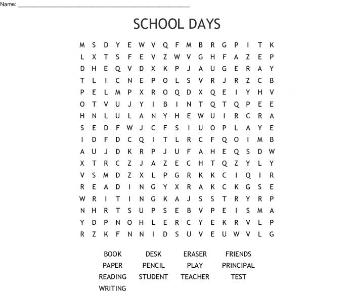 School Days Word Search