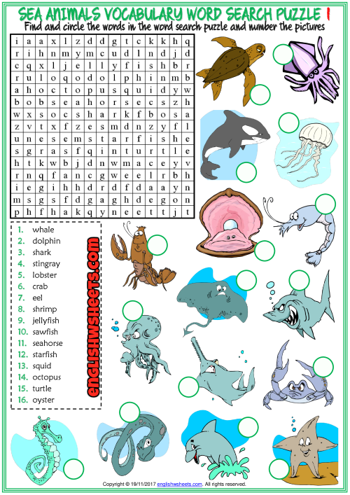 Sea Animals Esl Word Search Puzzle Worksheets For Kids