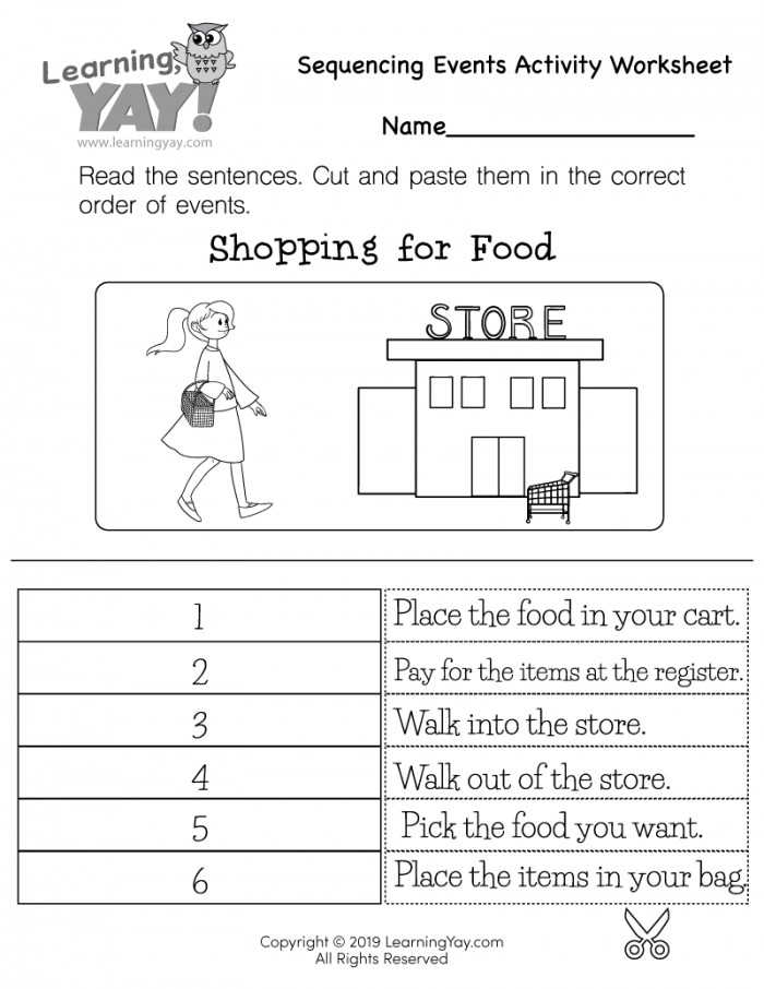 Sequencing Events Activity Worksheet For St Grade Free Printable