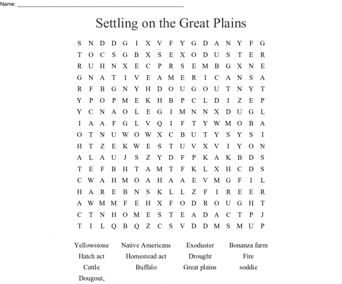 Settling On The Great Plains Word Search