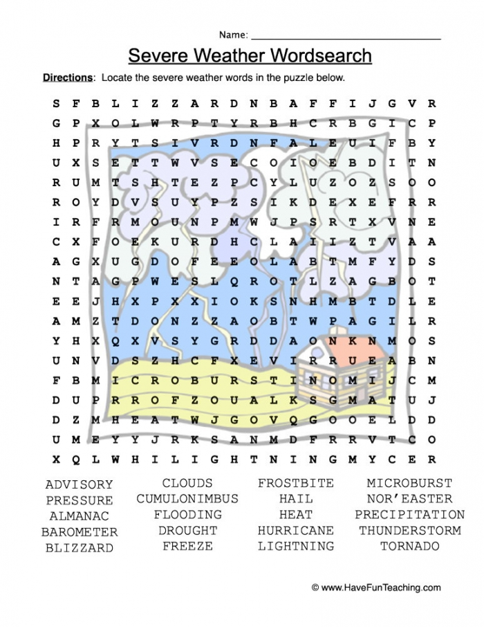 Severe Weather Word Search Worksheet Have Fun Teaching