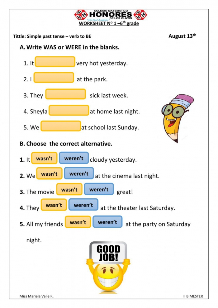 Simple Past Tense Interactive Activity For Th Grade