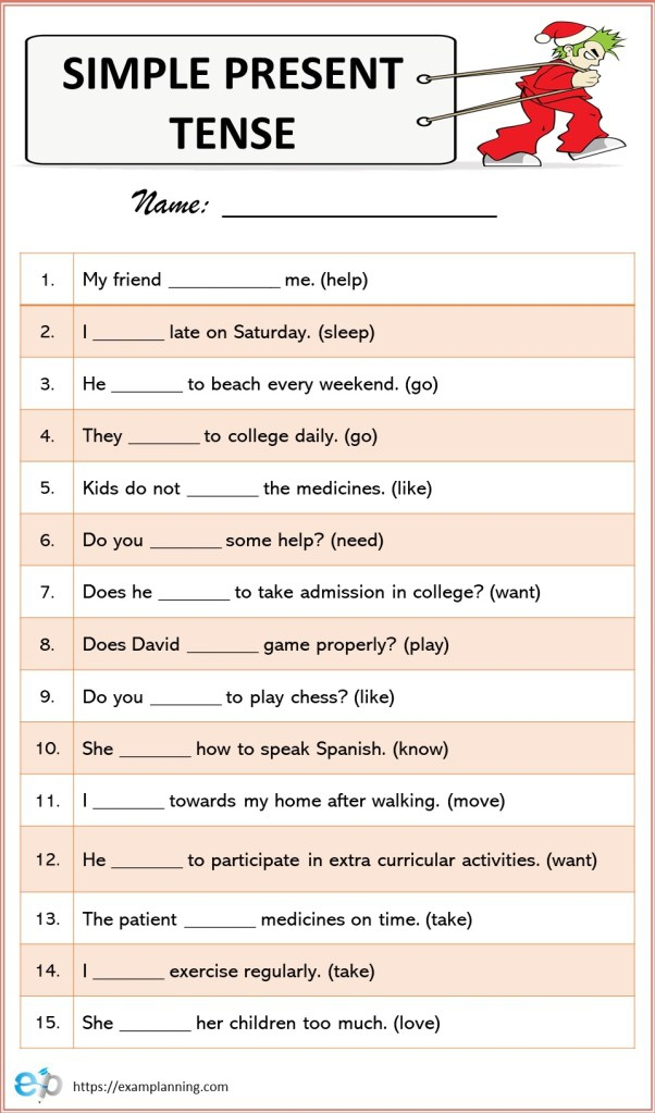 Simple Present Tense Formula Exercises Worksheet