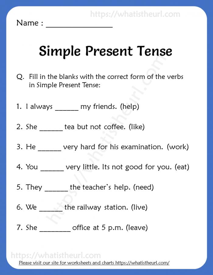 Simple Present Tense Worksheets For Grade