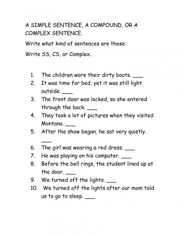 Simple Sentences Compound Sentence And Complex Worksheet