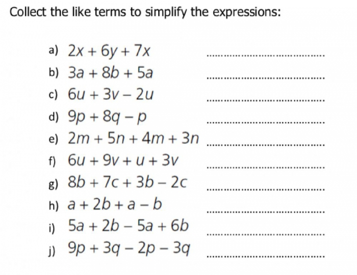 Simplify Algebraic Expressions By Collecting Like Terms Worksheet