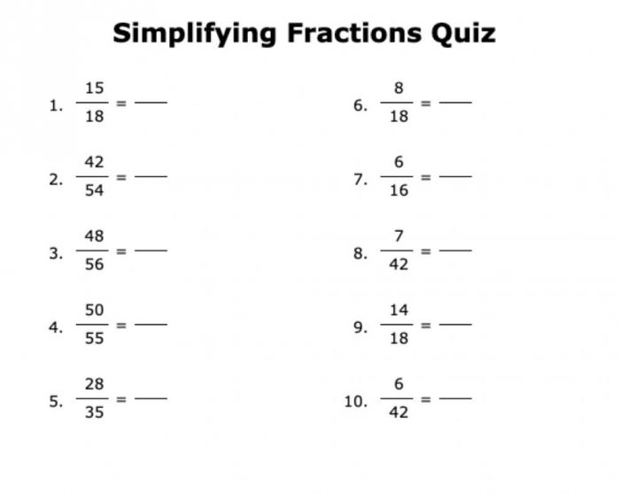 Simplify Fractions Formative Worksheet