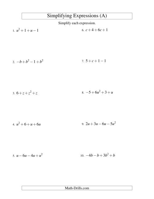 Simplifying Algebraic Expressions With One Variable And Four Terms