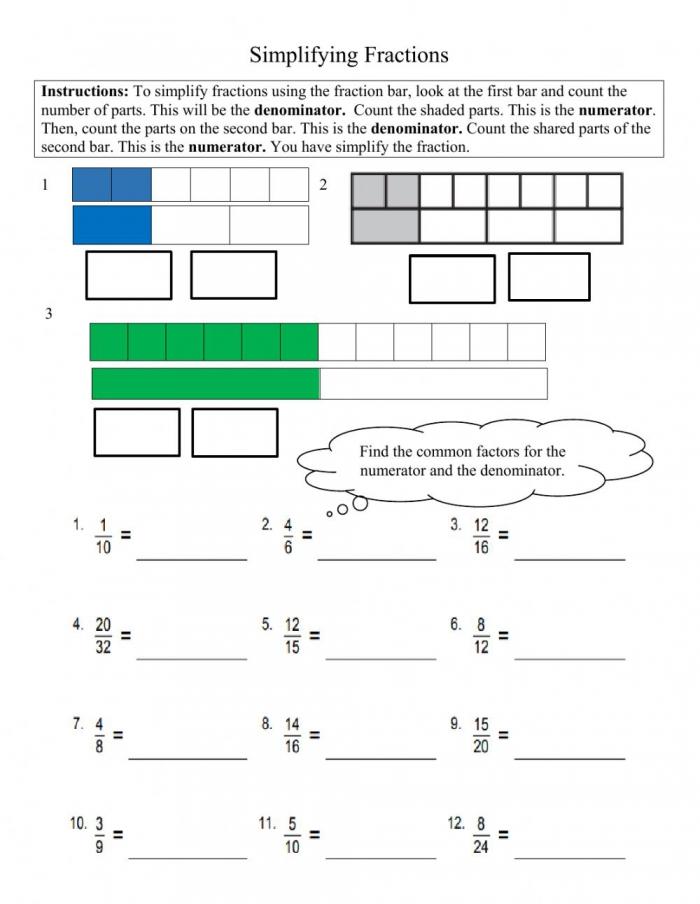 Simplifying Fractions Grade Worksheet