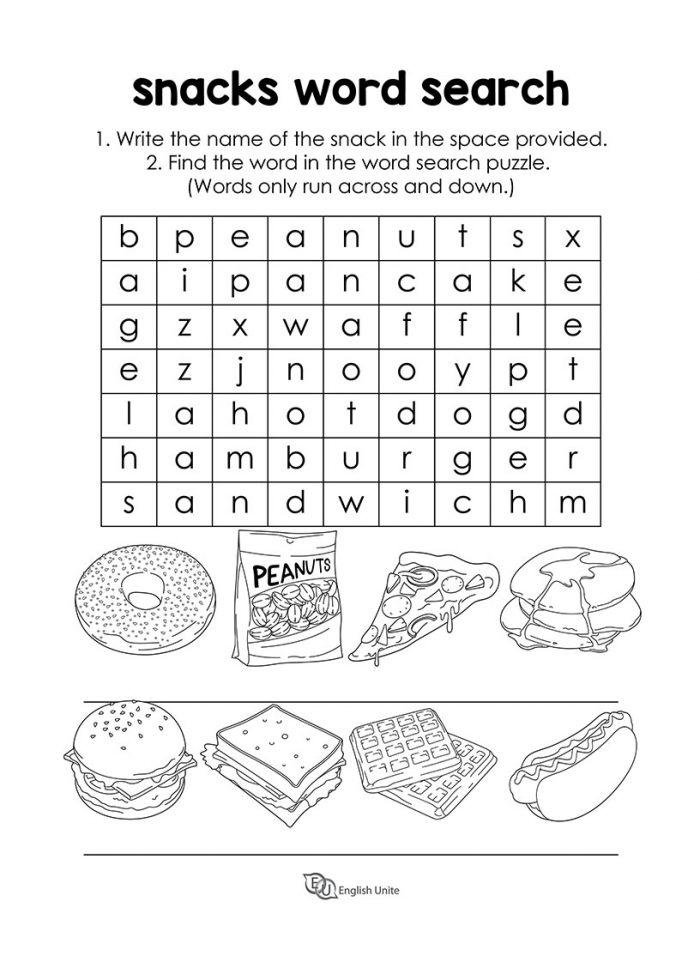 Snacks And Fast Food Word Search Puzzle