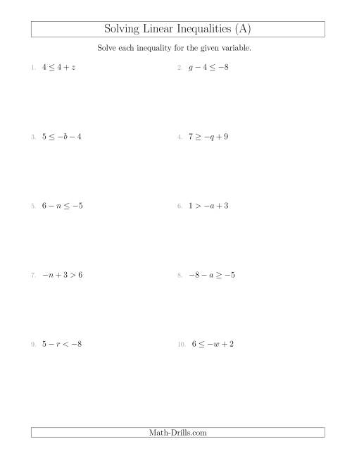 Solving Linear Inequalities Including A Third Term A