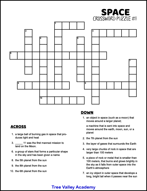 Space Themed Crossword Puzzles