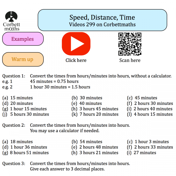 Speed Distance Time Textbook Exercise Corbettmaths