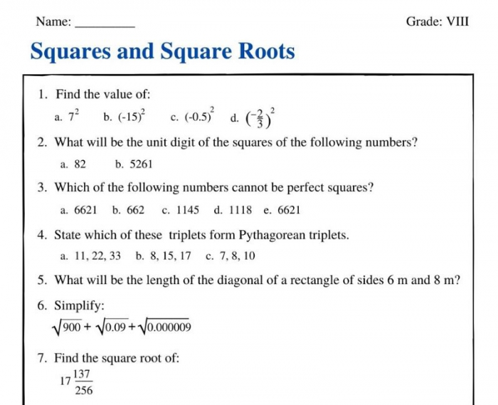 Squares And Square Roots For Class