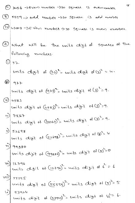 Squares And Square Roots Rd Sharma Class Solutions Ex