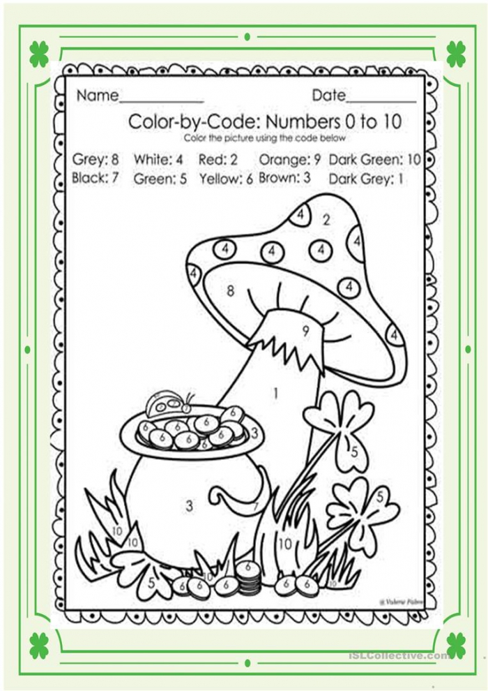 St. Patrick Day Color By Number