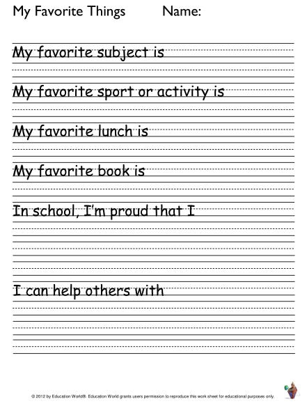 Student Writing Activity My Favorite Things