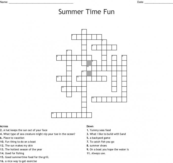 Summer Time Fun Crossword