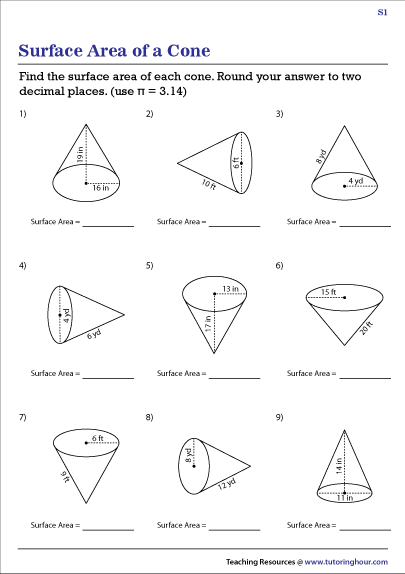 Surface Area Of Cones Worksheets
