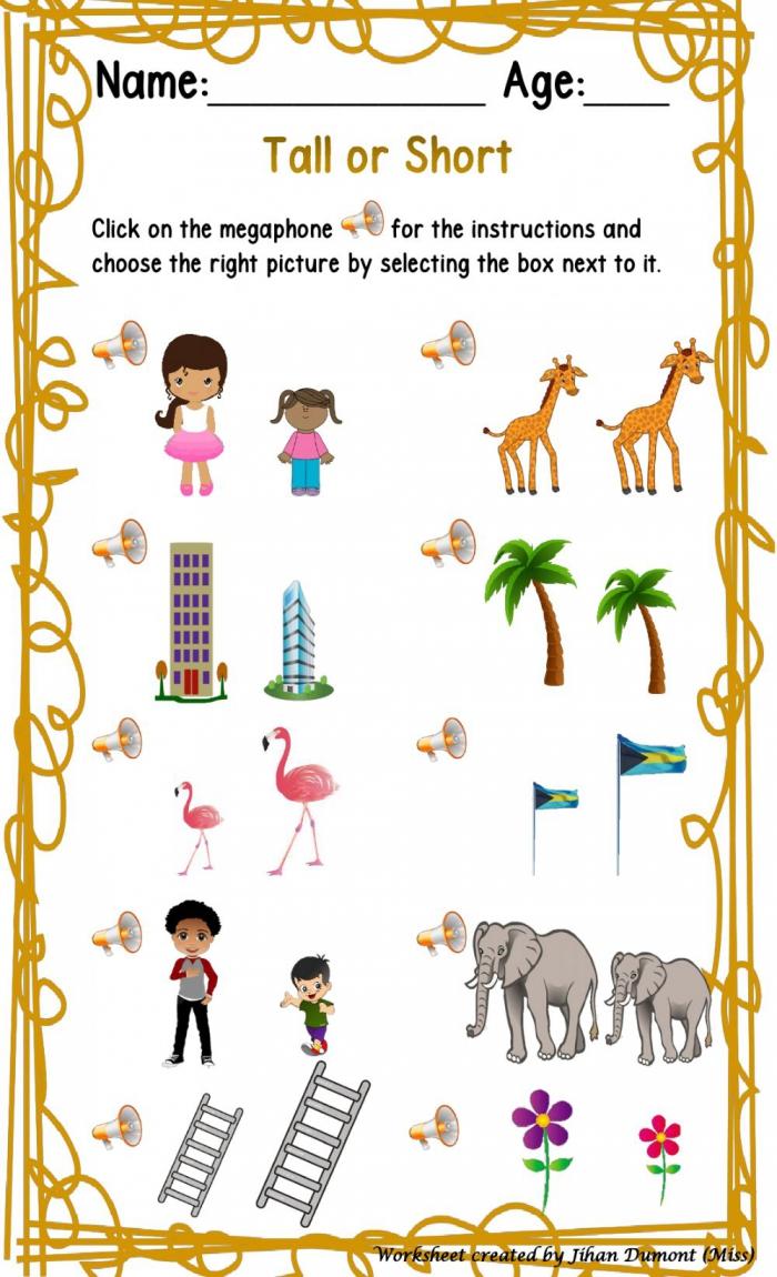 Tall Or Short Interactive Worksheet