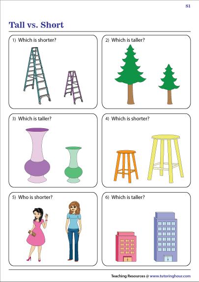 Tall Vs Short Worksheets