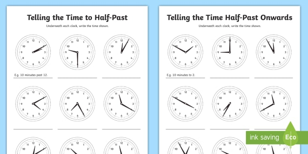 Telling The Time In Minute Intervals Worksheets