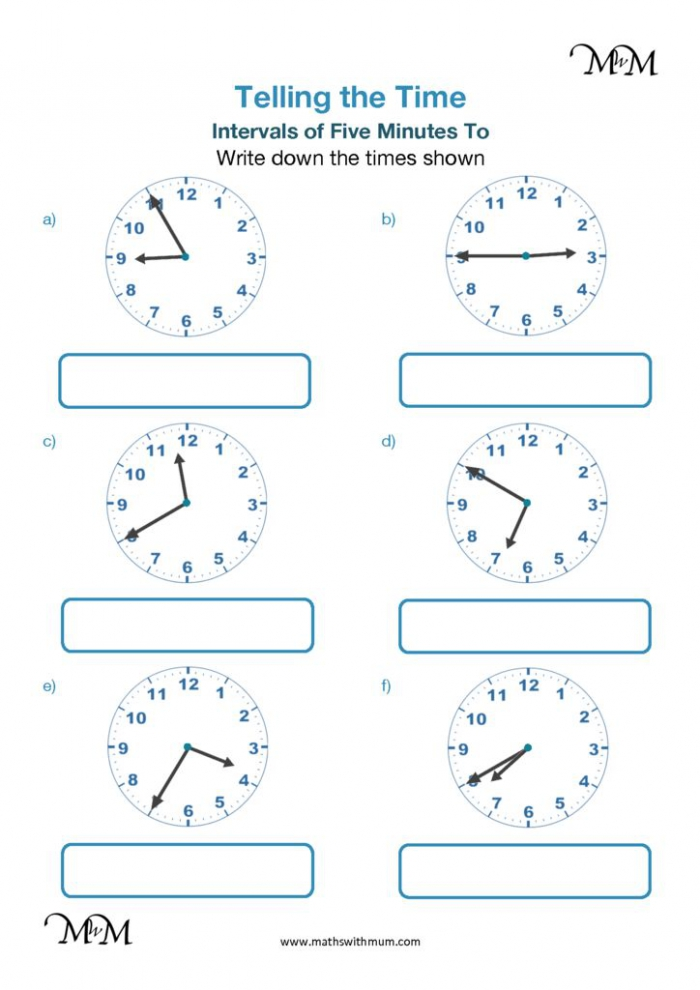 Telling Time Analogue Clock Minute Intervals To The Hour