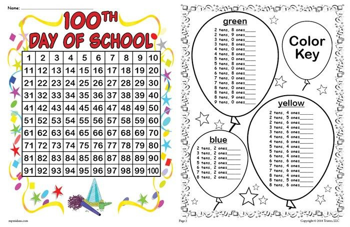 Th Day Of School Place Value Mystery Picture Hundreds Chart