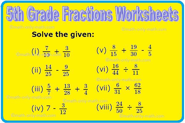 Th Grade Fractions Worksheets