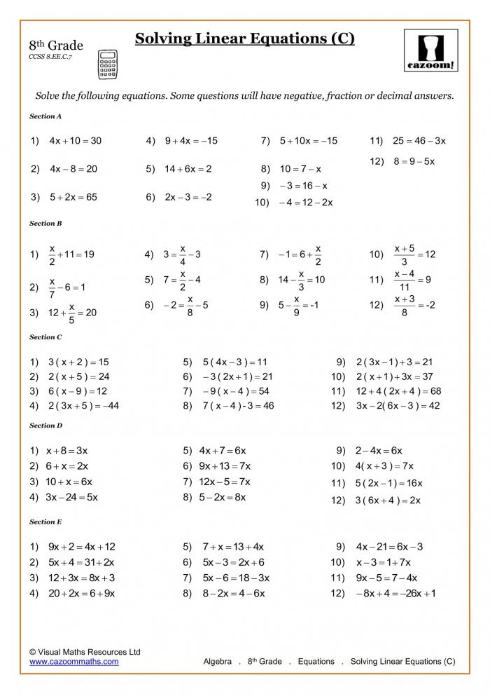 Th Grade Math Worksheets