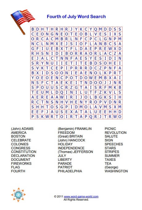 Th Of July Word Search
