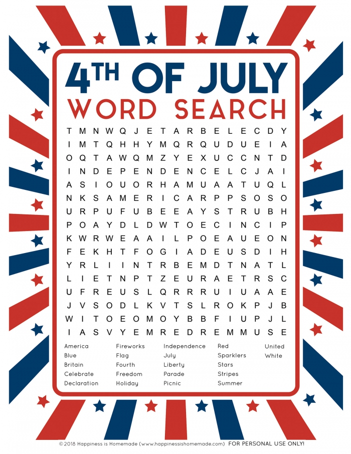 Th Of July Word Search Printable