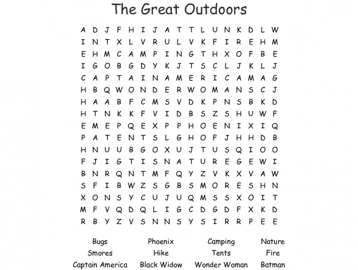 The Great Outdoors Word Search