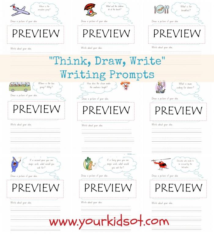Think Draw Write Sentence Writing Prompt Worksheet Bundle