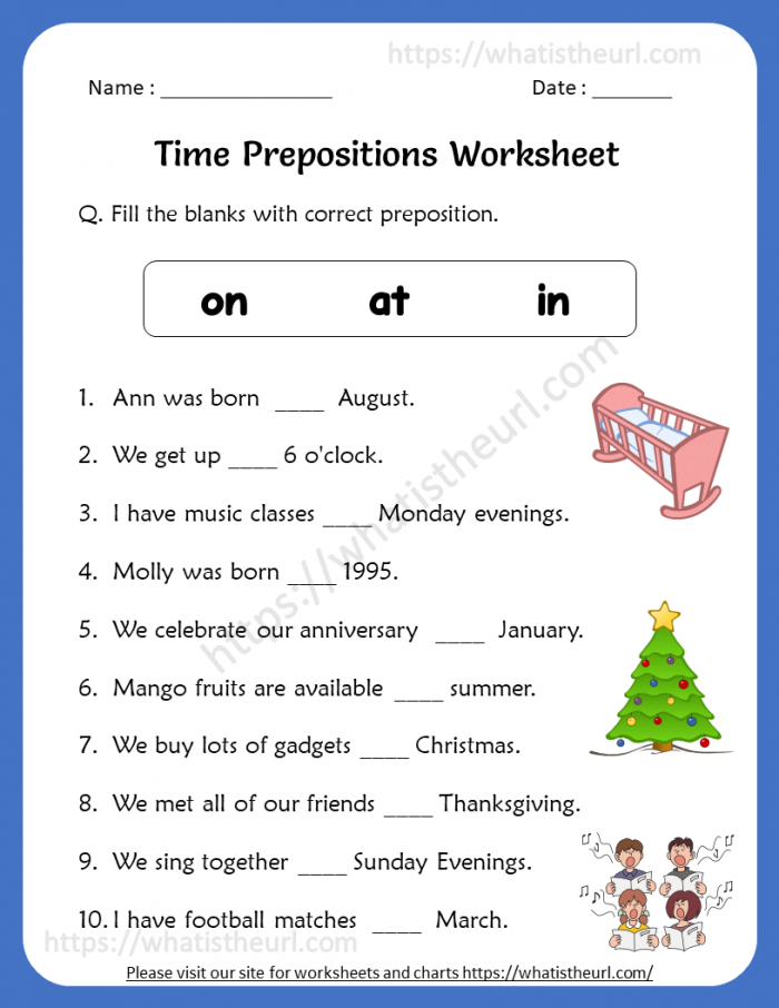 Time Prepositions Worksheets For Th Grade