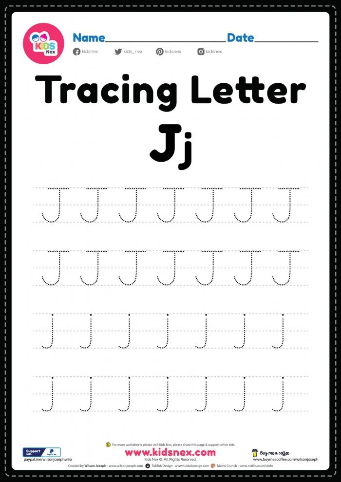 Tracing Letter J Alphabet Worksheet
