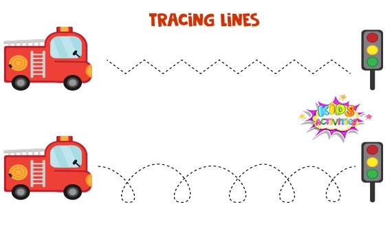 Kids Traceable Lines Worksheets