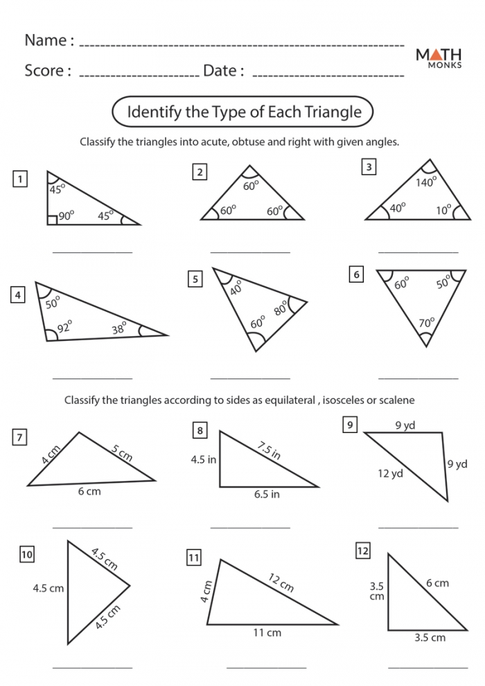 Triangle Worksheets
