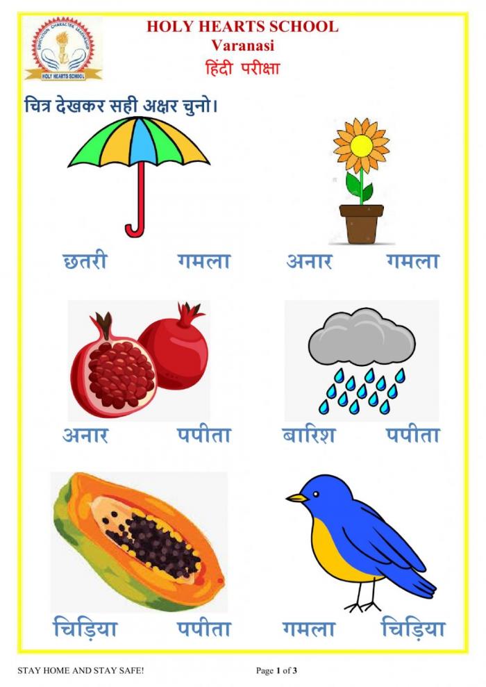 Ukg Hindi Test Worksheet