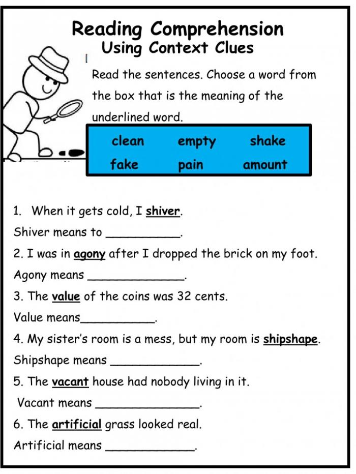 Using Context Clues Worksheet