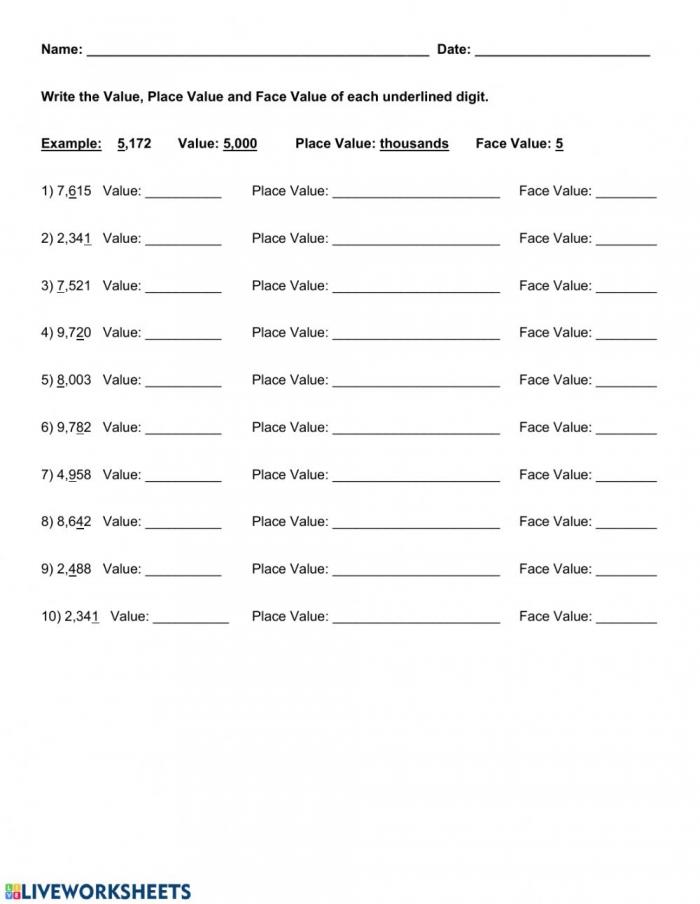 Value Place Value Face Value Worksheet