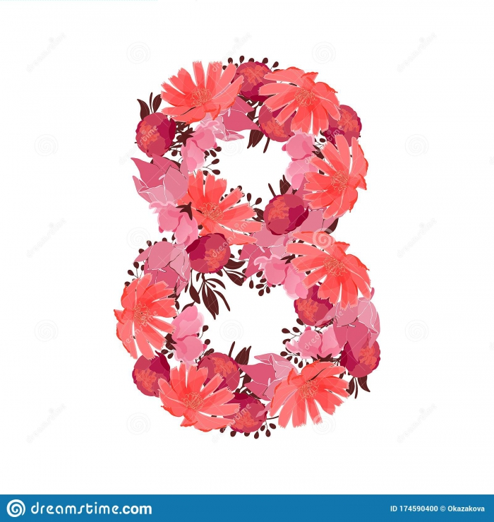 Vector Flower Number Botanical Character Figure Stock